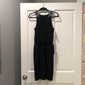 David Meister black key hole jeweled dress.